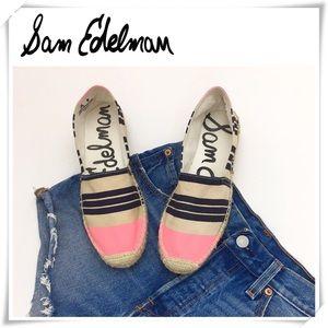 Sam Edelman Nwot Pink Stripe Espadrille Flat Shoe